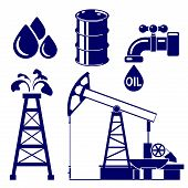 pic of oil derrick  - Oil industry icon  set symbol vector  illustration - JPG
