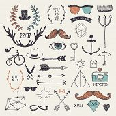 stock photo of funky  - Hipster style elements and labels  - JPG