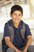 stock photo of pre-teen boy  - Pre teen boy in school - JPG