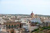 stock photo of gozo  - View over Victoria Rabat biggest city of Gozo island Malta - JPG