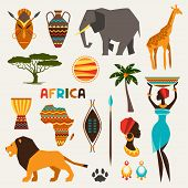 stock photo of african lion  - Set of african ethnic style icons in flat style - JPG