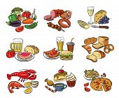 picture of hamburger-steak  - vector hand drawn color food on white - JPG
