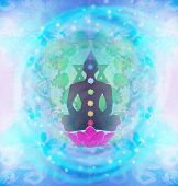 image of padmasana  - Yoga man silhouette in lotus pose - JPG