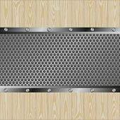 picture of metal grate  - metal and woden background with grate texture - JPG
