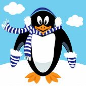 pic of muffs  - Funny penguin cartoon with winter ear muffs scarf and mittens  - JPG