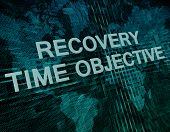 picture of objectives  - Recovery Time Objective text concept on green digital world map background - JPG