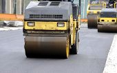 pic of paving  - Street paving with rollers and paving machines