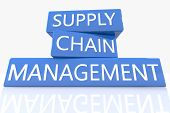 stock photo of supply chain  - 3d render blue box with text Supply Chain Management on it on white background with reflection - JPG
