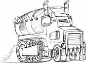 picture of armored car  - Armored Truck Vehicle Sketch Vector Illustration Art - JPG