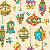 stock photo of taper  - Hand drawn Christmas tree balls and snowflakes - JPG