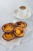 pic of pasteis  - Closeup of delicious traditional asian dessert egg tarts - JPG