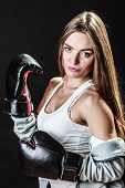 pic of martial arts girl  - Martial arts or self defence concept - JPG