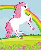 foto of unicorn  - Card with a cute unicorn and rainbow on field  - JPG