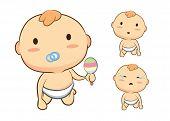 foto of crawling  - Baby crawling front side so cute in cartoon version - JPG