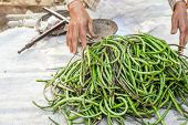 picture of yard sale  - Organic local yard long beans for sale at outdoor asian marketplace - JPG