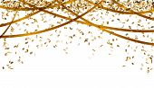 stock photo of oval  - falling oval confetti and ribbons with gold color - JPG