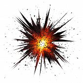 pic of explosion  - Black isolated vector star explosion with particles on white background - JPG