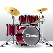 image of drum-set  - Set of drums isolated on background - JPG