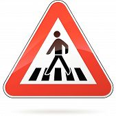 foto of pedestrian crossing  - illustration of triangular warning sign for pedestrian crossing - JPG