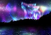 stock photo of wolf moon  - Colorful northern landscape with howling wolf spirit and aurora borealis - JPG