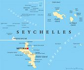 stock photo of political map  - Seychelles Political Map with capital Victoria - JPG