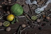image of rune  - Still life of ingredients for making potions witch - JPG