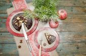 picture of desert christmas  - Still life with chocolate cake Christmas tree and pomegranate - JPG