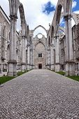 pic of carmelite  - Famous Carmo Church ruins after the earthquake in 1755 in Lisbon - JPG