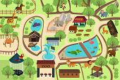 foto of zoo  - A vector illustration of map of a zoo park - JPG