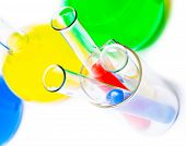 stock photo of reagent  - container with colored reagents closeup on white background  - JPG