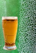 stock photo of ice crystal  - Froth beer glass on ice crystals and drips green background - JPG