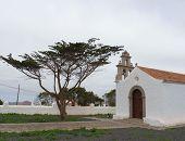 pic of canary-islands  - The white small Hermitage of San Pedro Alcantara in the village La Ampuyenta on the island Fuerteventura - JPG