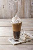 image of frappe  - iced coffee with milk and ice cream in a glass - JPG