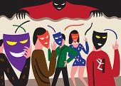 foto of psychological  - people in masks  - JPG