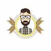 foto of geek  - geek male cartoon theme vector art illustration - JPG