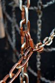 image of chain link fence  - Slightly rusted links in a chain fence - JPG