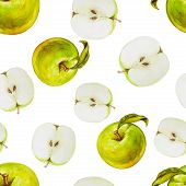 image of household farm  - Watercolor seamless pattern with green apples - JPG