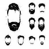 stock photo of rogue  - Beard set with grunge style  - JPG