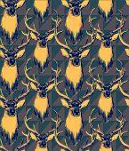 foto of deer head  - Vintage style seamless pattern with deer heads - JPG