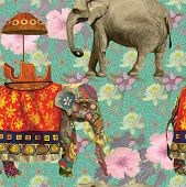 image of indian elephant  - Seamless pattern with indian elephants - JPG