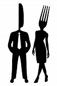 Silhouette Couple Fork And Knife