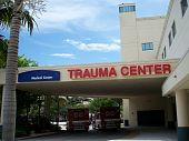 picture of trauma  - Trauma Center at the Medical Center entrance showing Fire Rescue vehicles on call - JPG