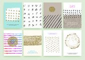stock photo of glitter  - Set of Trendy Posters with Gold Glitter Texture Background - JPG