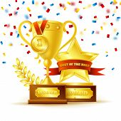picture of gold medal  - Winner cup with gold medal and star with ribbon on the white background vector illustration - JPG