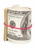 picture of one hundred dollar bill  - Hundred dollar bills rolled up with rubberband - JPG