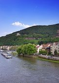 stock photo of barge  - Barges in the river and quay of european city in summer Heidelberg - JPG