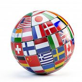foto of flags world  - Flags of the world in globe isolated on white - JPG