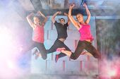 pic of zumba  - Group of young people jumping during music - JPG