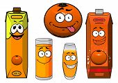 image of tease  - Fresh natural orange juice cartoon characters including teasing orange fruit - JPG