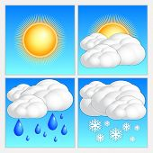 foto of snow clouds  - Vector abstract day weather image set with sun - JPG